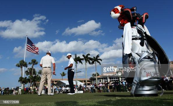 Tiger Woods of the USA is pictured on the practice putting green ahead of the WGC Cadillac Championship at the Doral Golf Resort Spa on March 6 2013...