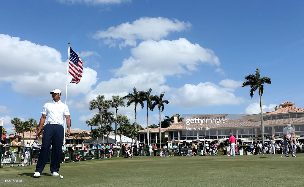 Tiger Woods of the USA is pictured on the practice putting green ahead of the WGC - Cadillac Championship at the Doral Golf Resort & Spa on March 6, 2013 in Miami, Florida.