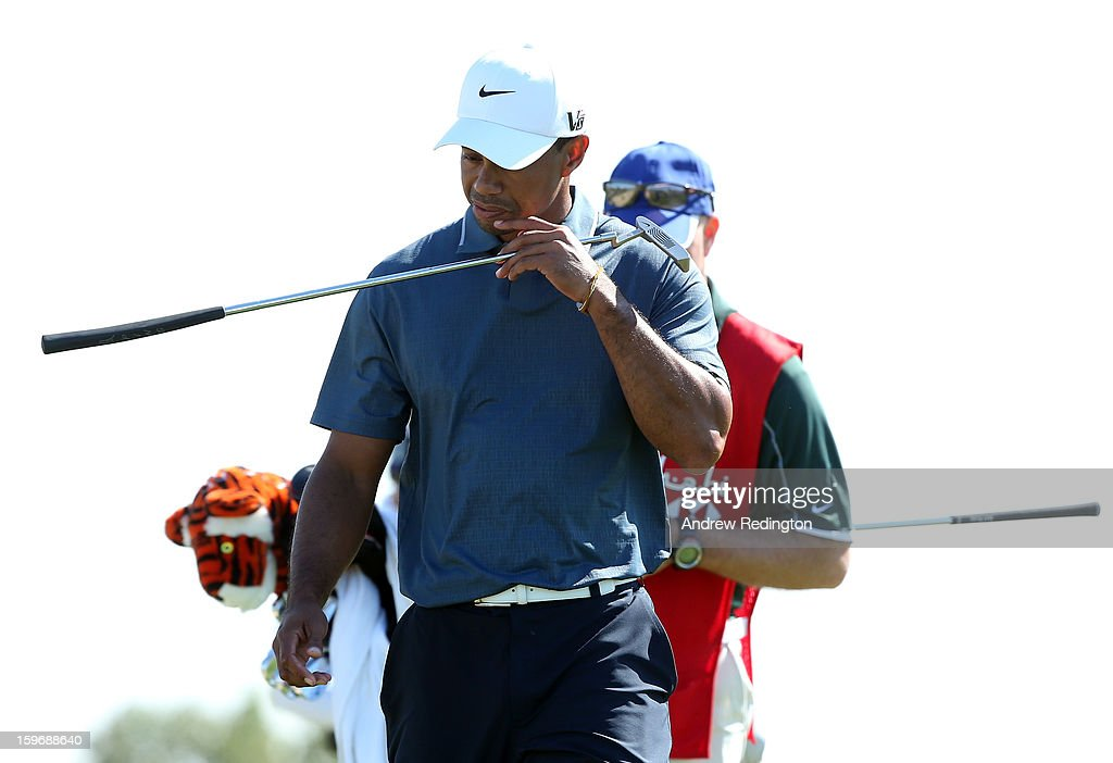 Tiger Woods of the USA looks dejected during the second round of The Abu Dhabi HSBC Golf Championship at Abu Dhabi Golf Club on January 18, 2013 in Abu Dhabi, United Arab Emirates.