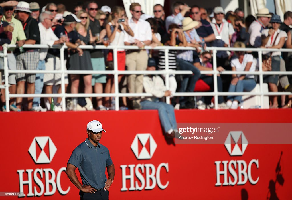 Tiger Woods of the USA looks dejected on the 17th hole during the second round of The Abu Dhabi HSBC Golf Championship at Abu Dhabi Golf Club on January 18, 2013 in Abu Dhabi, United Arab Emirates.