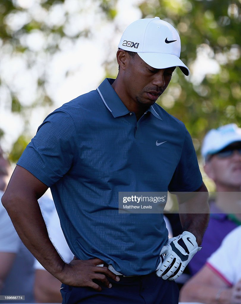Tiger Woods of the USA looks on, afyer his tee shot goes wayward on the 16th hole during day two of the Abu Dhabi HSBC Golf Championship at Abu Dhabi Golf Club on January 18, 2013 in Abu Dhabi, United Arab Emirates.