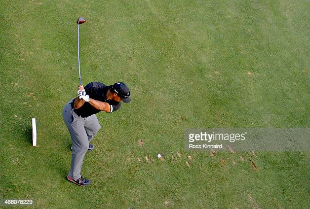 Tiger Woods of the USA on the 17th tee during the second round of the Omega Dubai Desert Classic on the Majlis Course at the Emirates Golf Club on...