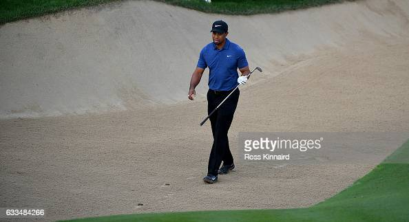 Tiger Woods of the USA on the par five 10th hole during the first round of the Omega Dubai Desert Classic at Emirates Golf Club on February 2 2017 in...