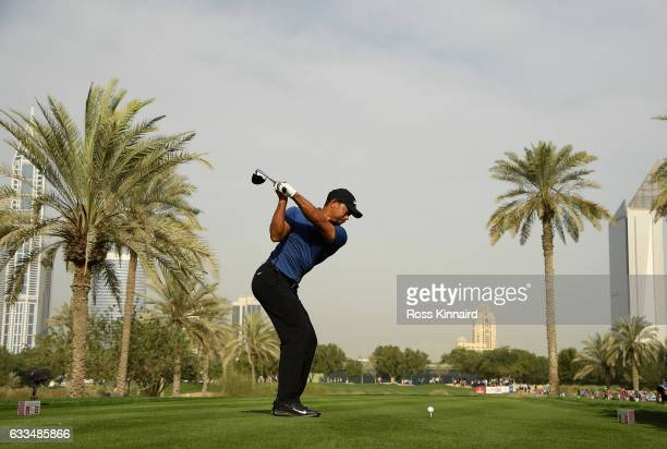 Tiger Woods of the USA on the par four 16th tee during the first round of the Omega Dubai Desert Classic at Emirates Golf Club on February 2 2017 in...