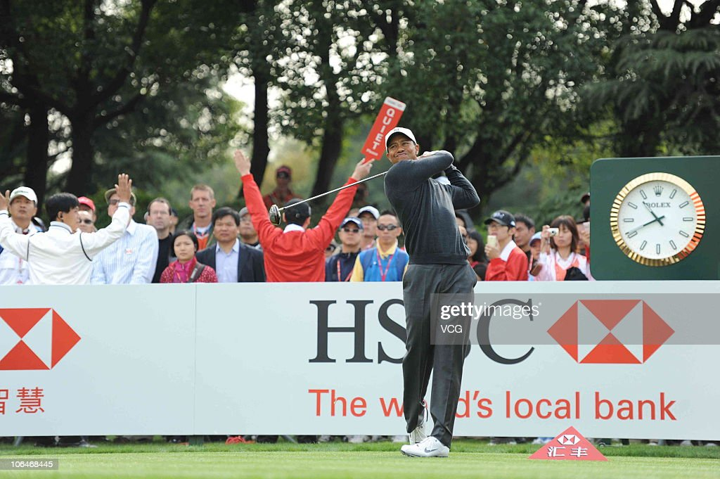 <a gi-track='captionPersonalityLinkClicked' href=/galleries/search?phrase=Tiger+Woods&family=editorial&specificpeople=157537 ng-click='$event.stopPropagation()'>Tiger Woods</a> of the USA plays a shot during the pro-am prior to the start of the WGC-HSBC Champions at Sheshan International Golf Club on November 3, 2010 in Shanghai, China.