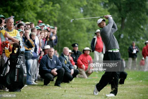 Tiger Woods of the USA plays a shot during the second round of The JP McManus Invitational ProAm event at the Adare Manor Hotel and Golf Resort on...