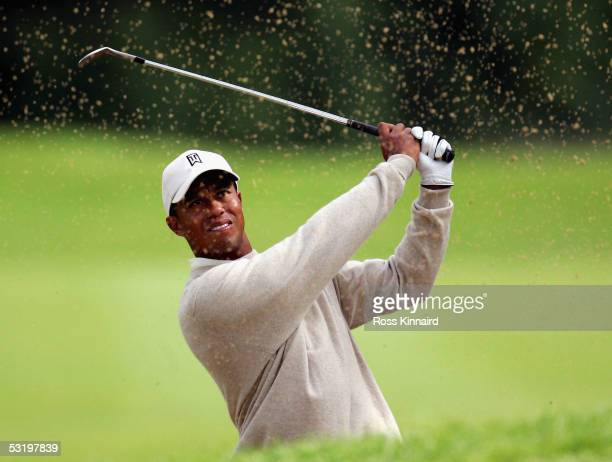 Tiger Woods of the USA plays his third shot on the par five 9th hole during the second round of The JP McManus Invitational ProAm event at the Adare...