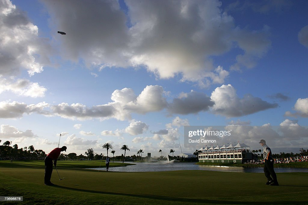 Tiger Woods of the USA putts his 4th shot at the par 4 18th hole during the final round of the 2007 World Golf Championships CA Championship held at...