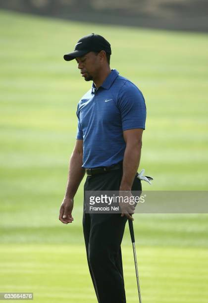 Tiger Woods of the USA reacts during the first round of the Omega Dubai Desert Classic at Emirates Golf Club on February 2 2017 in Dubai United Arab...