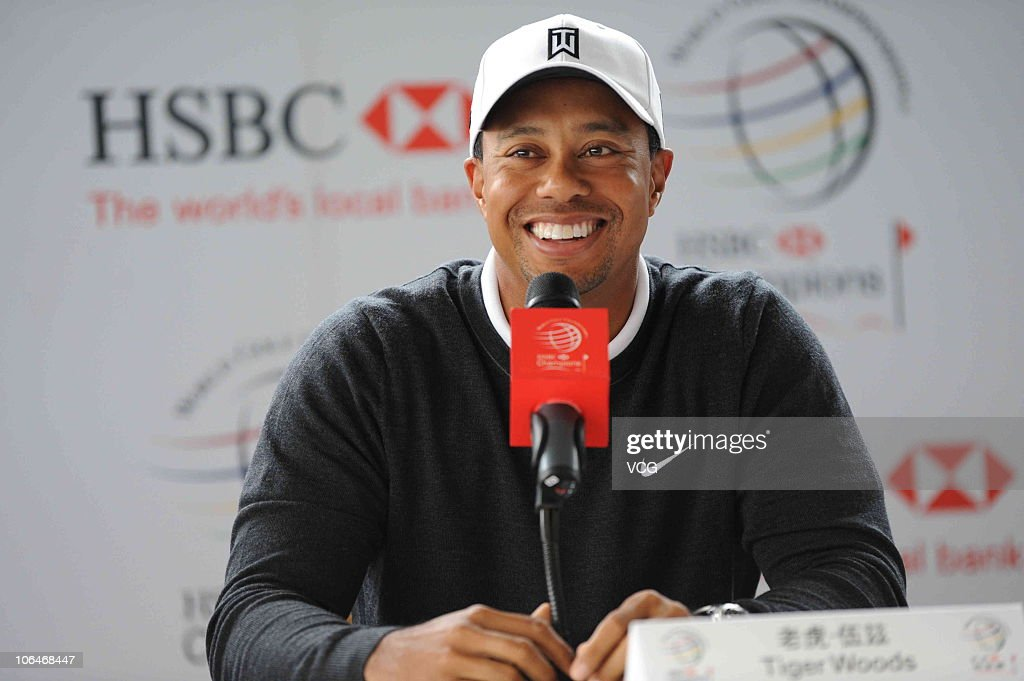 <a gi-track='captionPersonalityLinkClicked' href=/galleries/search?phrase=Tiger+Woods&family=editorial&specificpeople=157537 ng-click='$event.stopPropagation()'>Tiger Woods</a> of the USA talks to the media during a press conference prior to the start of the WGC-HSBC Champions at Sheshan International Golf Club on November 3, 2010 in Shanghai, China.