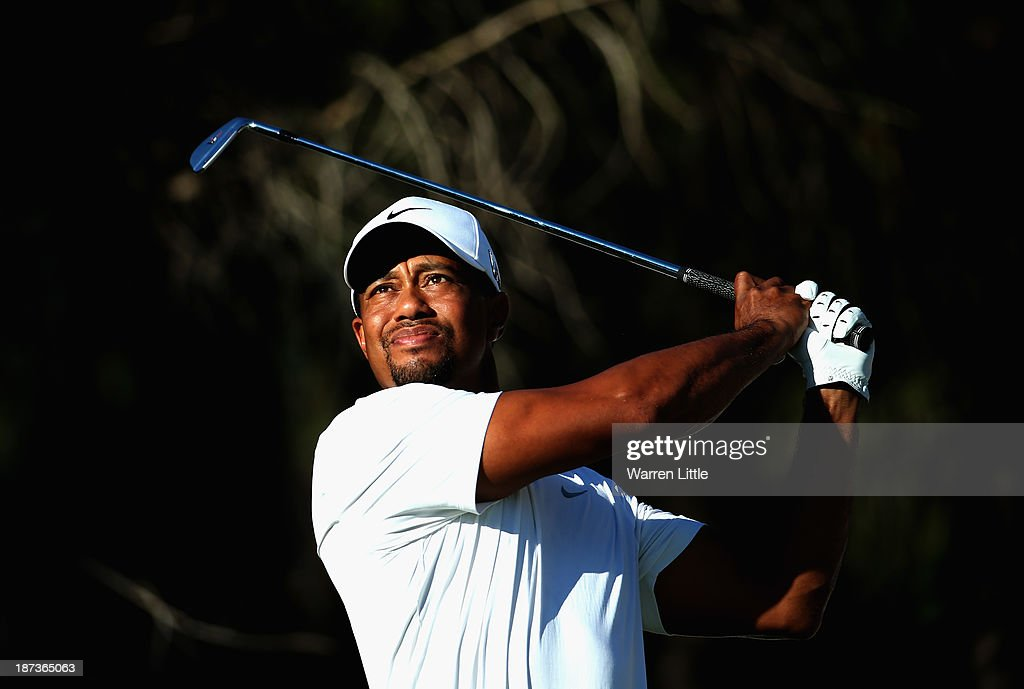 Tiger Woods of the USA tees off on the 14th hole during the second round of the Turkish Airlines Open at The Montgomerie Maxx Royal Course on November 8, 2013 in Antalya, Turkey.