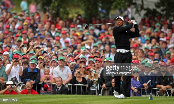 Tiger Woods of the USA tees off on the first hole during the first round of The JP McManus Invitational ProAm event at the Adare Manor Hotel and Golf...