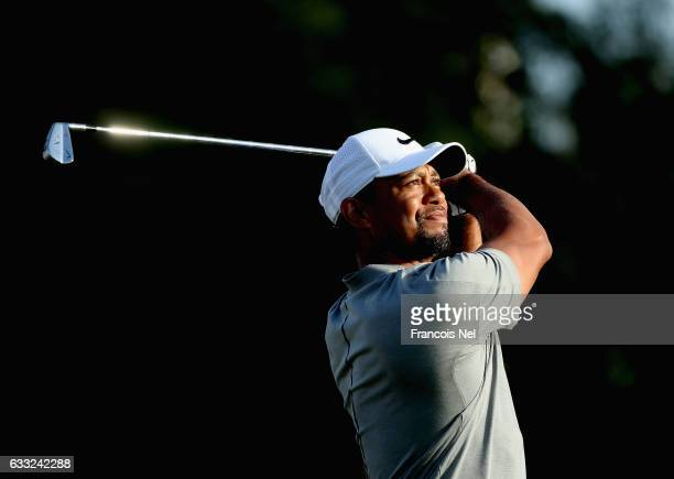 Tiger Woods of the USA tees off on the fourth hole during the proam event prior to the Omega Dubai Desert Classic on the Majlis Course at Emirates...