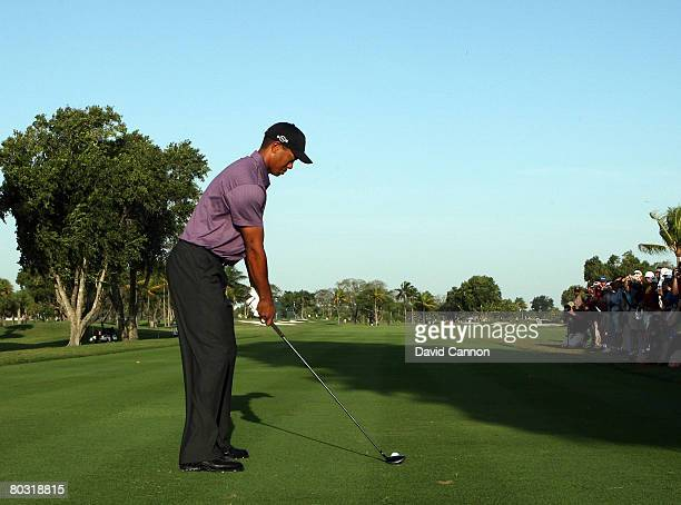 Tiger Woods of the USA using a 3 wood for his tee shot at the 7th hole during practice for the 2008 World Golf Championships CA Championship at the...