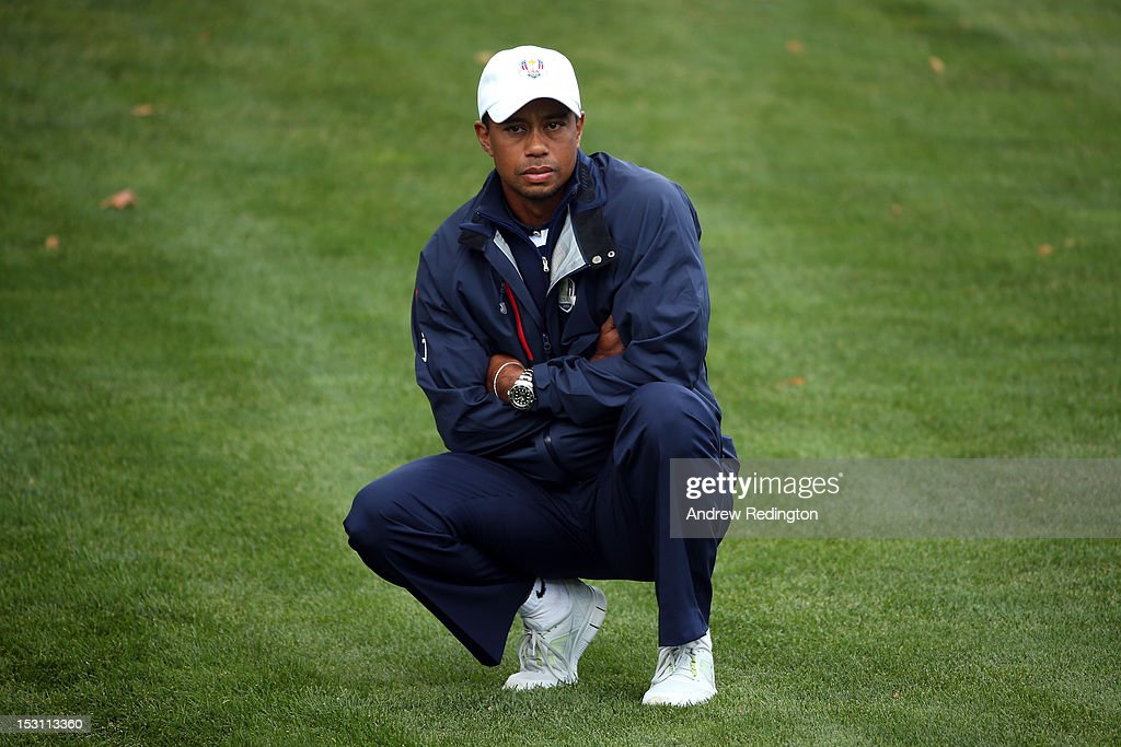 Tiger Woods of the USA watches from the first fairway during the Singles Matches for The 39th Ryder Cup at Medinah Country Club on September 30 2012...