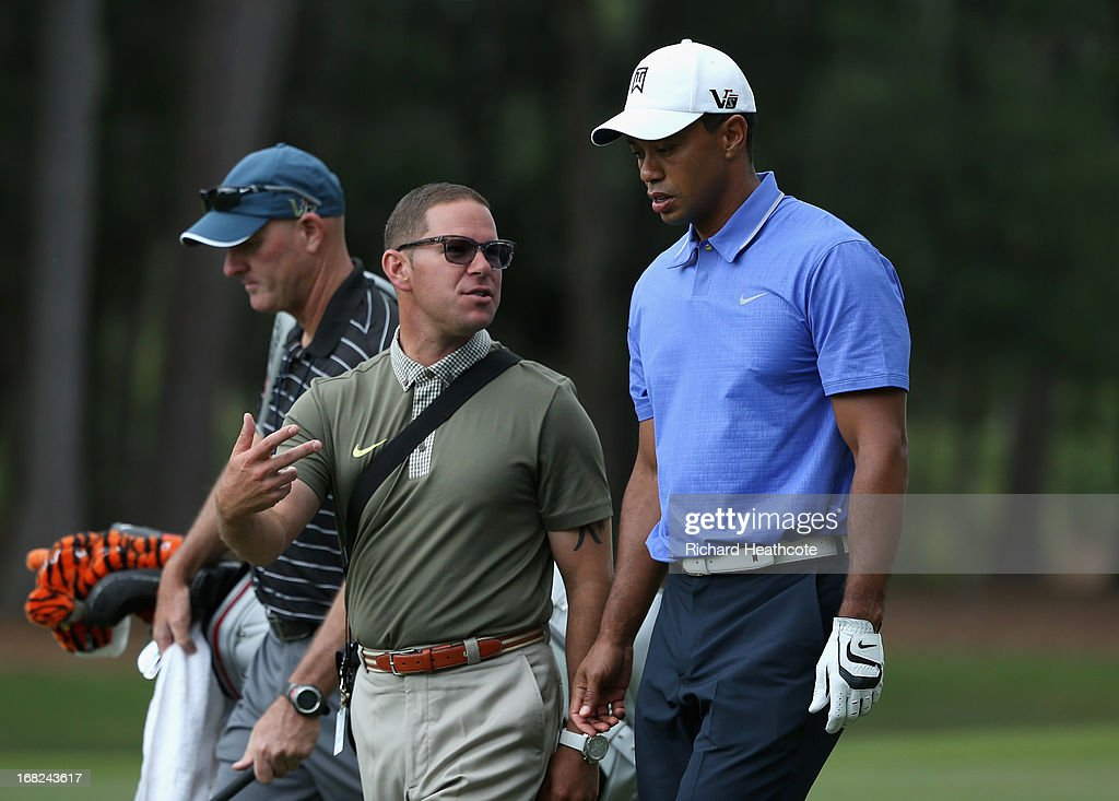 <a gi-track='captionPersonalityLinkClicked' href=/galleries/search?phrase=Tiger+Woods&family=editorial&specificpeople=157537 ng-click='$event.stopPropagation()'>Tiger Woods</a> of the USA with his coach Sean Foley during a practise round for THE PLAYERS Championship at TPC Sawgrass on May 7, 2013 in Ponte Vedra Beach, Florida.