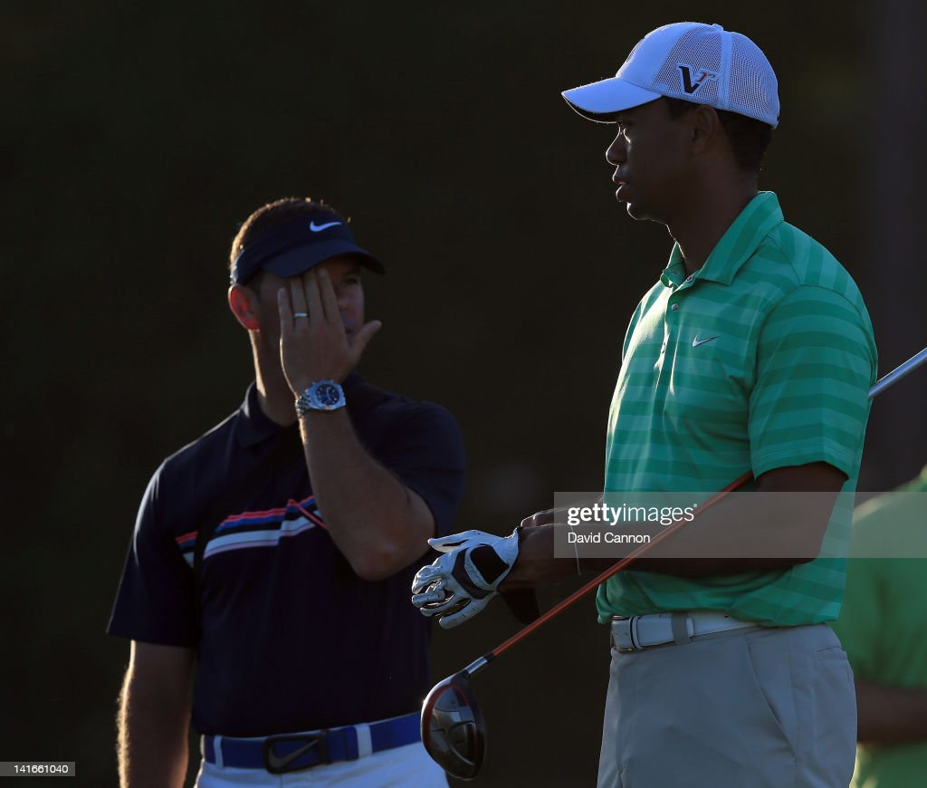 Tiger Woods of the USA with his coach Sean Foley of the USA during the pro-am as a preview for the 2012 Arnold Palmer Invitational presented by MasterCard at Bay Hill Club and Lodge on March 21, 2012 in Orlando, Florida.