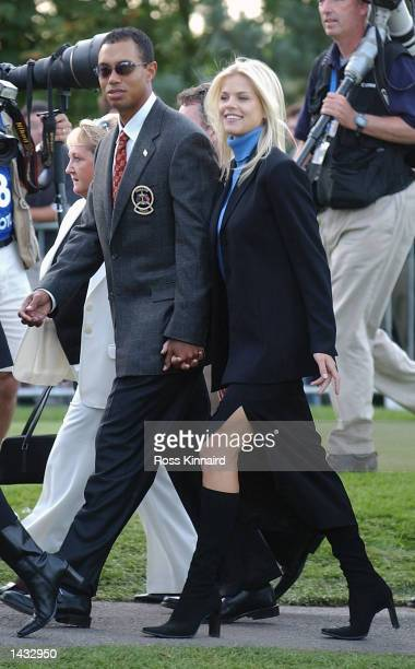 Tiger Woods of the USA with his girlfriend Elin Nordegren during the opening ceremony for the 34th Ryder Cup at the De Vere Belfry in Sutton...