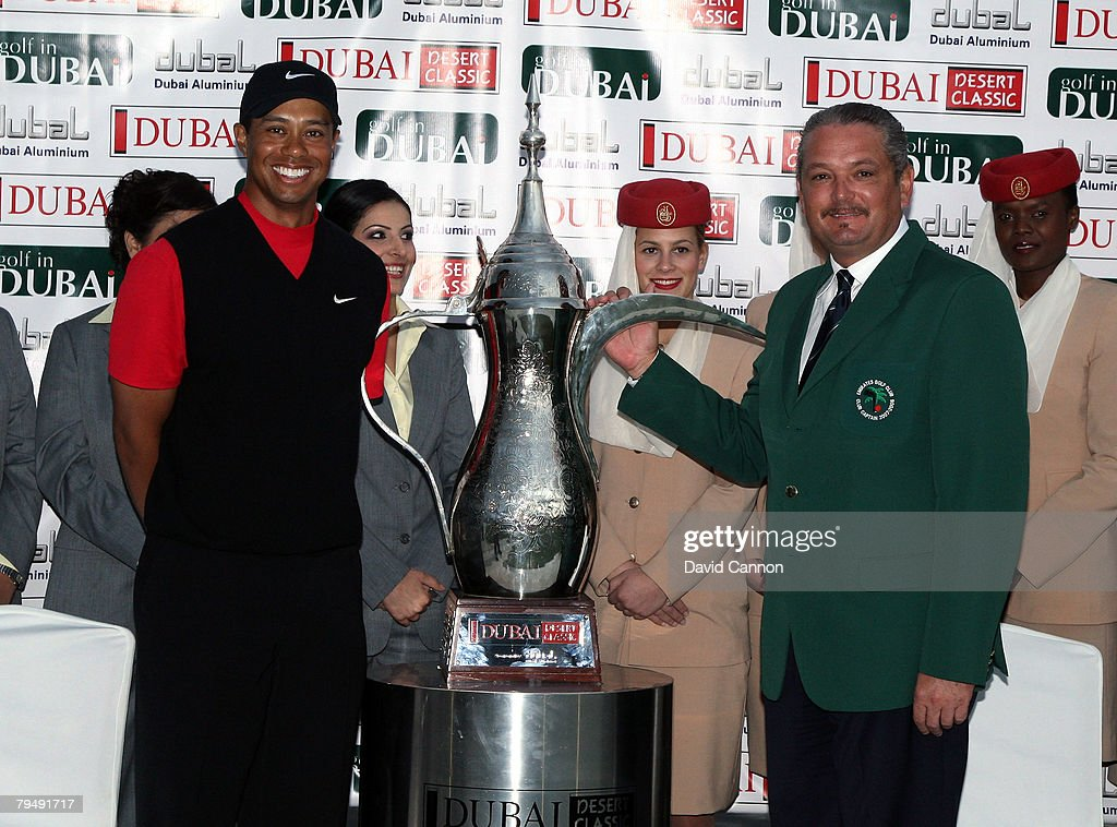 Tiger Woods of the USA with the trophy with The Emirates Golf Club Gentlemans Captain after winning the Dubai Desert Classic, on the Majilis Course at the Emirates Golf Club, on February 3, 2008 in Dubai, United Arab Emirates.