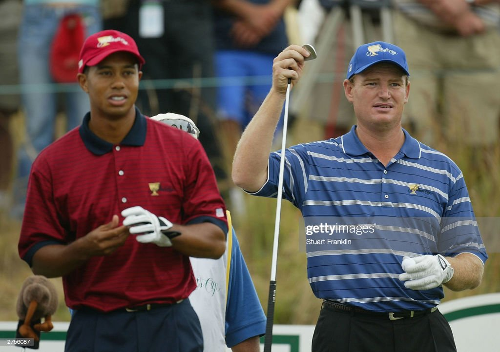 Tiger Woods of USA during this match with Ernie Els of South Africa at The Presidents Cup between USA and The Internatioanl team on the November 23...