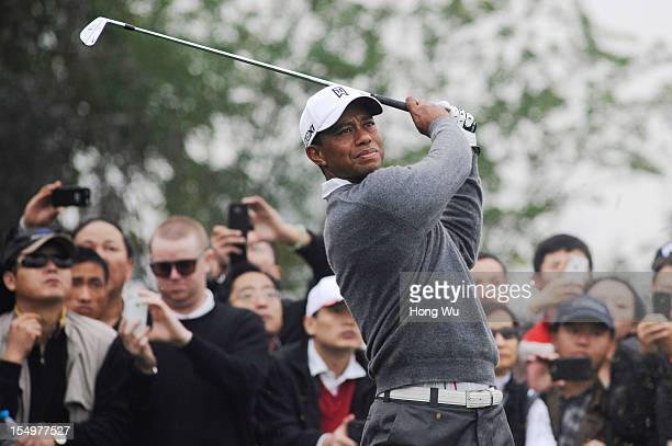 Tiger Woods of USA in action during the Duel of Tiger Woods and Rory McIlroy at Jinsha Lake Golf Club on October 29 2012 in Zhengzhou China