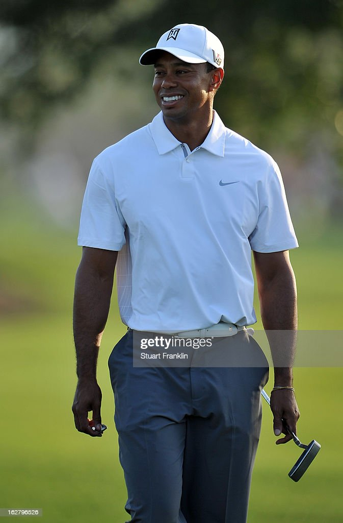 Tiger Woods of USA looks happy during the pro am of the Honda Classic at PGA National on February 27, 2013 in Palm Beach Gardens, Florida.