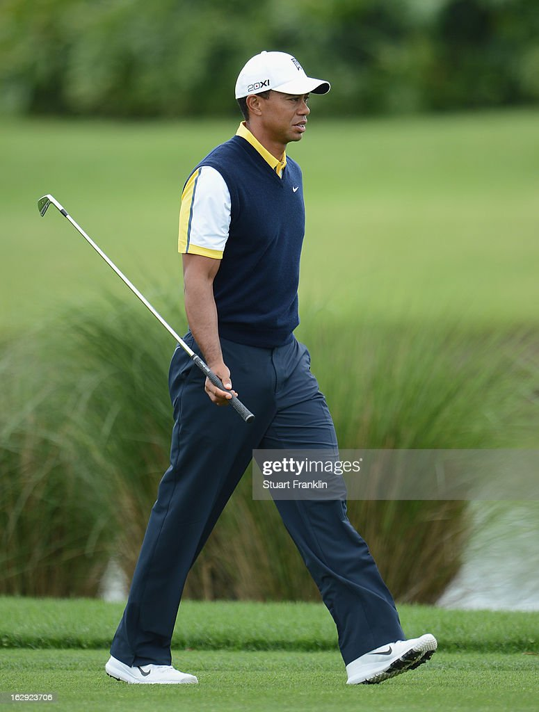 Tiger Woods of USA ponders his approach shot on the sixth hole during the second round of the Honda Classic on March 1, 2013 in Palm Beach Gardens, Florida.