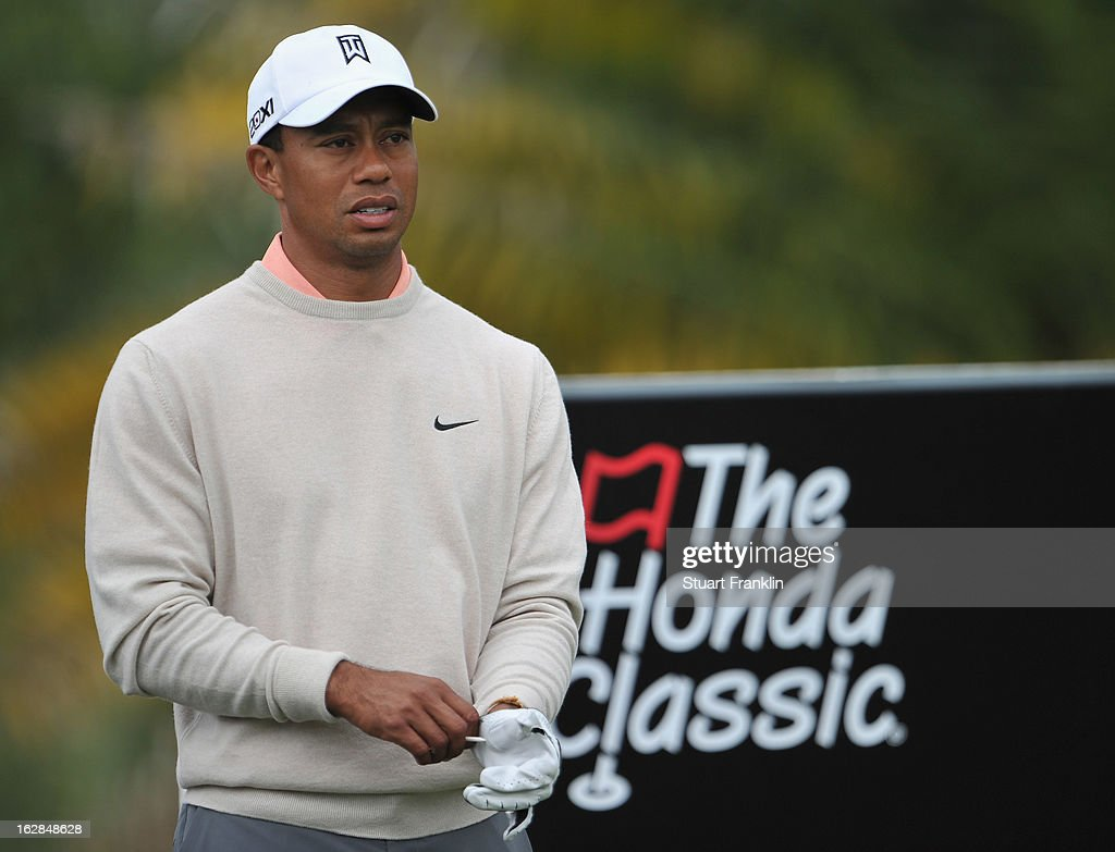 Tiger Woods of USA ponders on the third hole during the first round of the Honda Classic on February 28, 2013 in Palm Beach Gardens, Florida.