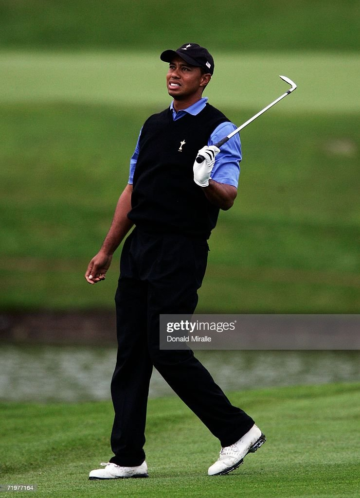 <a gi-track='captionPersonalityLinkClicked' href=/galleries/search?phrase=Tiger+Woods&family=editorial&specificpeople=157537 ng-click='$event.stopPropagation()'>Tiger Woods</a> of USA reacts to his approach shot on the 15th hole during the afternoon foursomes on the second day of the 2006 Ryder Cup at The K Club on September 23, 2006 in Straffan, Co. Kildare, Ireland.