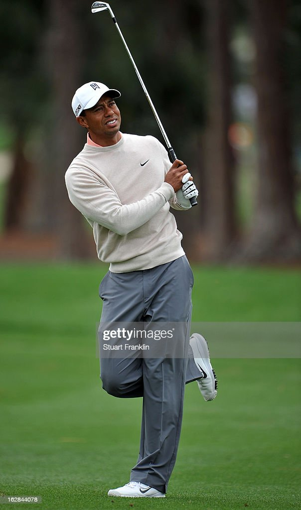 Tiger Woods of USA reacts to his approach shot on the second hole during the first round of the Honda Classic on February 28, 2013 in Palm Beach Gardens, Florida.