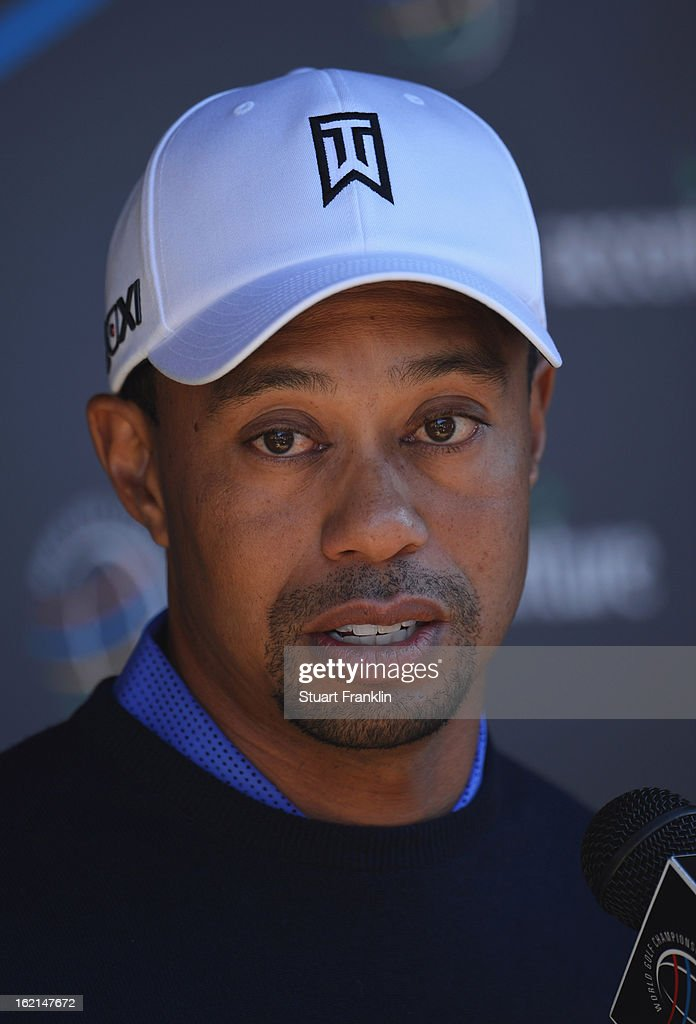 <a gi-track='captionPersonalityLinkClicked' href=/galleries/search?phrase=Tiger+Woods&family=editorial&specificpeople=157537 ng-click='$event.stopPropagation()'>Tiger Woods</a> of USA talks with the media during his press conference prior to the start of the World Golf Championships-Accenture Match Play Championship at the Ritz-Carlton Golf Club on February 19, 2013 in Marana, Arizona.