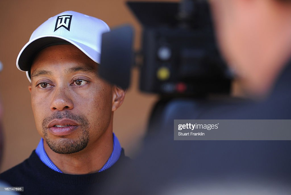 Tiger Woods of USA talks with the media during his press conference prior to the start of the World Golf Championships-Accenture Match Play Championship at the Ritz-Carlton Golf Club on February 19, 2013 in Marana, Arizona.