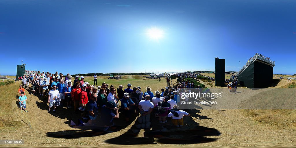 <a gi-track='captionPersonalityLinkClicked' href=/galleries/search?phrase=Tiger+Woods&family=editorial&specificpeople=157537 ng-click='$event.stopPropagation()'>Tiger Woods</a> of USA tees off on the 8th hole during the second round of the 142nd Open Championship at Muirfield on July 19, 2013 in Gullane, Scotland.