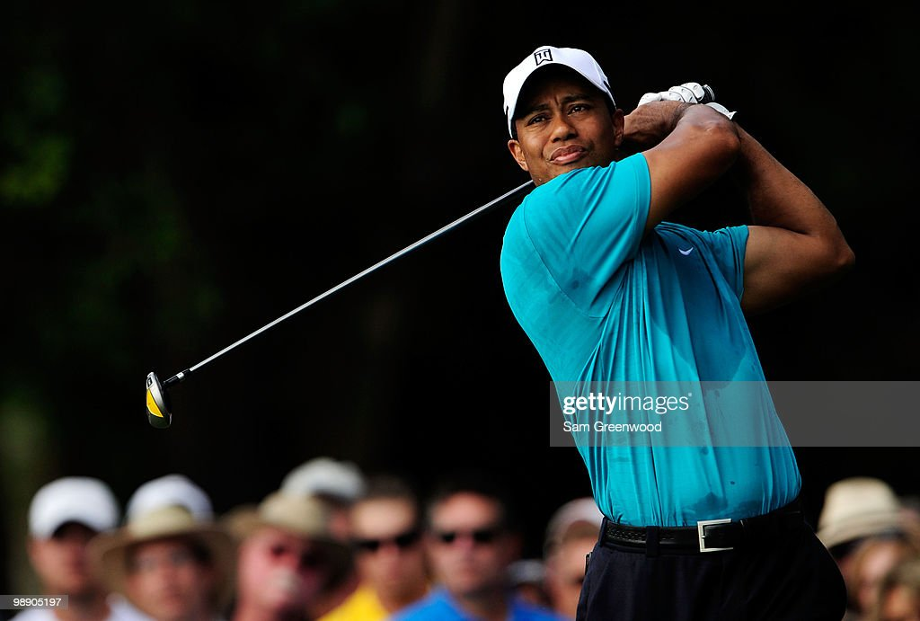 Tiger Woods plays his tee shot on the 12th hole during the second round of THE PLAYERS Championship held at THE PLAYERS Stadium course at TPC Sawgrass on May 7, 2010 in Ponte Vedra Beach, Florida.