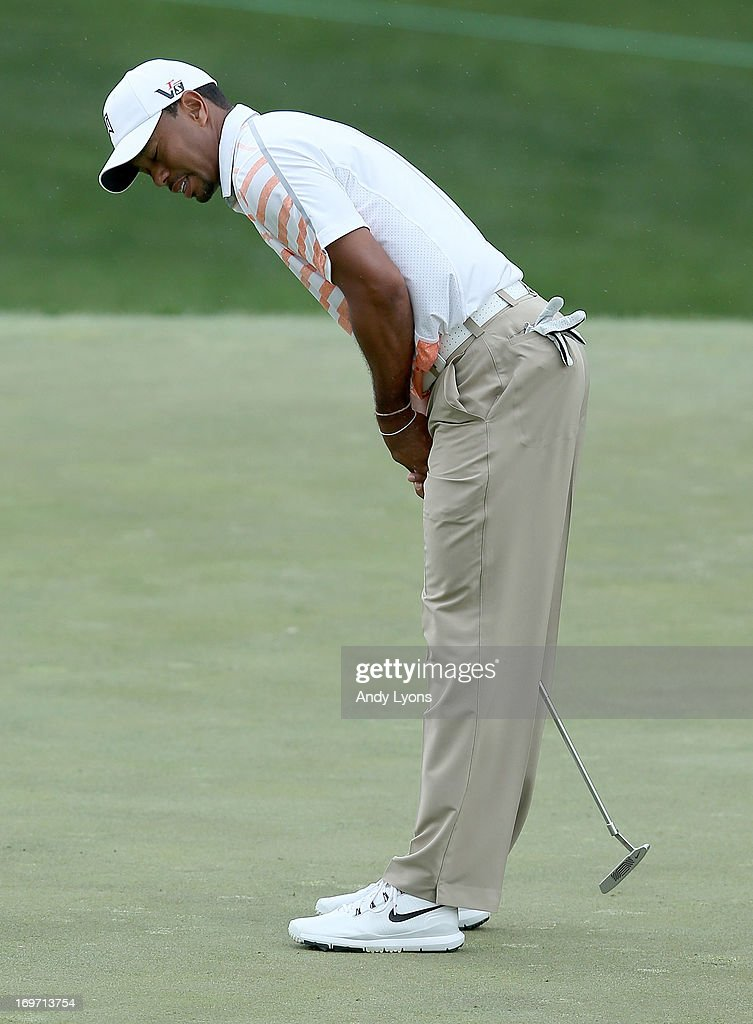 <a gi-track='captionPersonalityLinkClicked' href=/galleries/search?phrase=Tiger+Woods&family=editorial&specificpeople=157537 ng-click='$event.stopPropagation()'>Tiger Woods</a> reacts after missing his birdie putt on the par 4 1st hole during the second round of the Memorial Tournament presented by Nationwide Insurance at Muirfield Village Golf Club on May 31, 2013 in Dublin, Ohio.