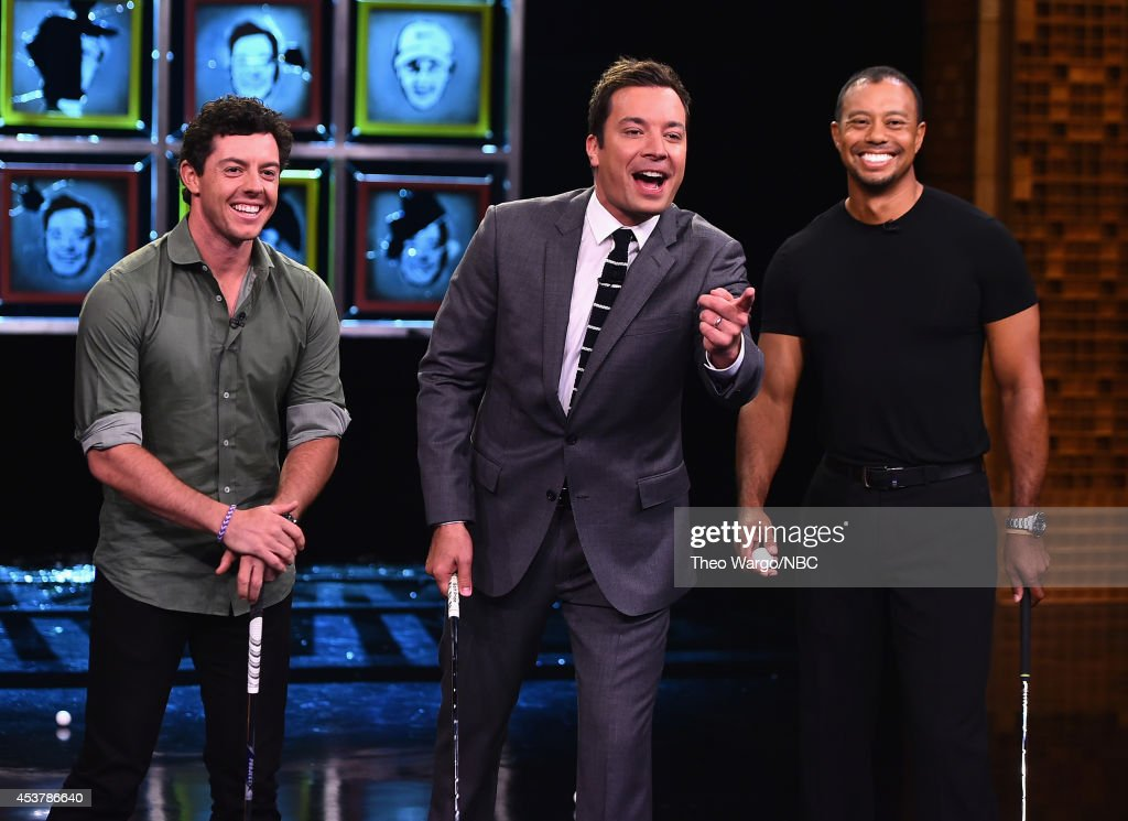 Tiger Woods & Rory Mcllroy Visit 'The Tonight Show Starring Jimmy Fallon' at Rockefeller Center on August 18, 2014 in New York City.