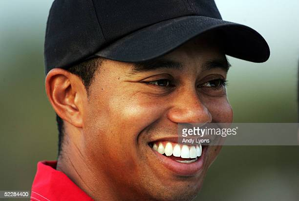 Tiger Woods smiles after winning the Ford Championship at Doral on March 6 2005 at the Doral Golf Resort and Spa in Miami Florida