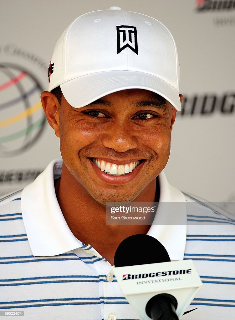 Tiger Woods speaks to the media prior to the WGC-Bridgestone Invitational on the South Course at Firestone Country Club on August 5, 2009 in Akron, Ohio.