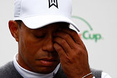 Tiger Woods speaks with the media after finishing 11 overpar for a total of 13 overpar after his second round of the Waste Management Phoenix Open at...