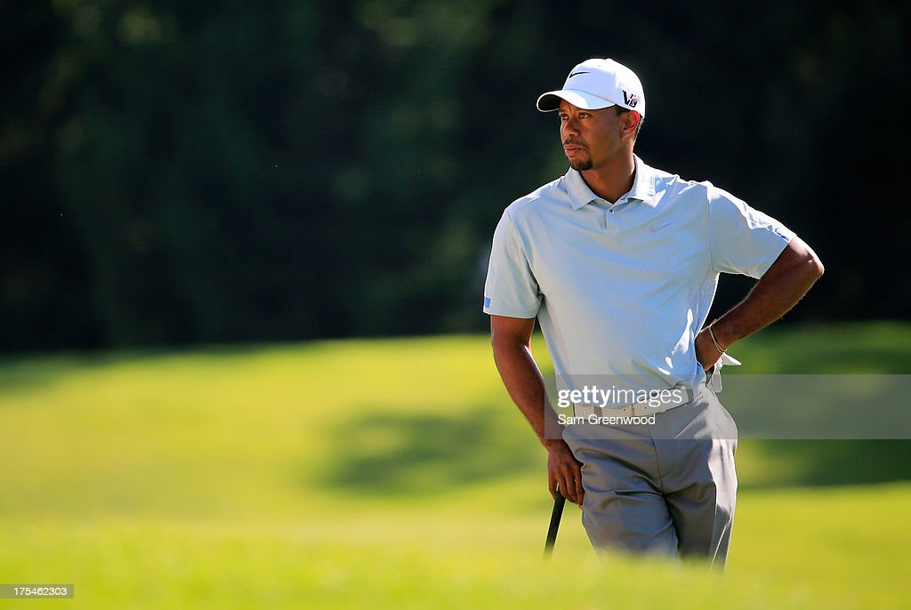 Tiger Woods stands on the 16th fairway during the Third Round of the World Golf Championships-Bridgestone Invitational at Firestone Country Club South Course on August 3, 2013 in Akron, Ohio.
