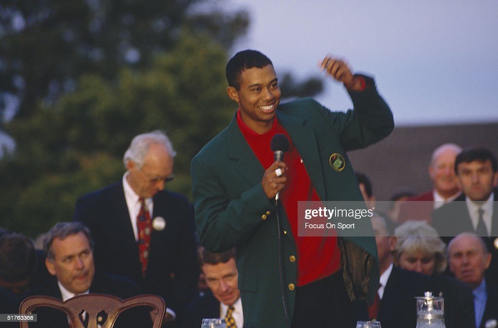Tiger Woods talks to the press after recieving his Green Jacket for winning the Masters Tournament at the Augusta National Golf Club on April 13, 1997 in Augusta, Georgia. Tiger Woods won the Masters with a 18 under par.