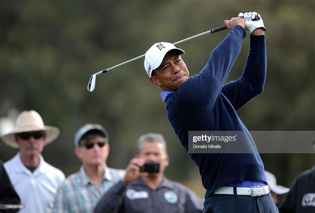 Tiger Woods tees off during the Pro-Am at the Farmers Insurance Open at Torrey Pines North Golf Course on January 23, 2013 in La Jolla, California.