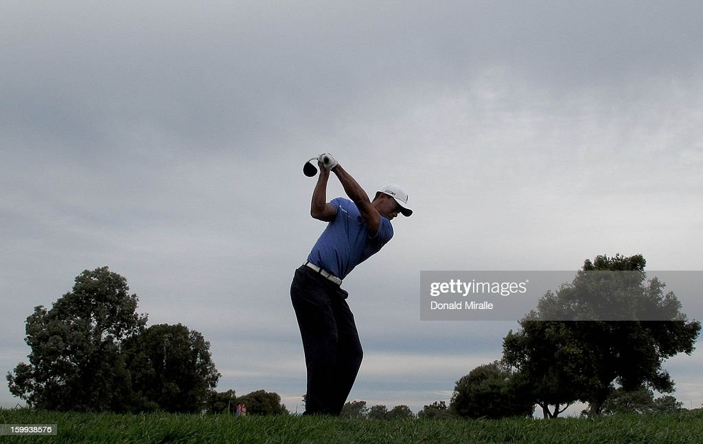 <a gi-track='captionPersonalityLinkClicked' href=/galleries/search?phrase=Tiger+Woods&family=editorial&specificpeople=157537 ng-click='$event.stopPropagation()'>Tiger Woods</a> tees off during the Pro-Am at the Farmers Insurance Open at Torrey Pines South Golf Course on January 23, 2013 in La Jolla, California.