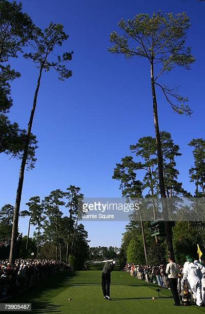 Tiger Woods tees off during the third round of the 2007 Masters Tournament at Augusta National Golf Club on April 7 2007 in Augusta Georgia