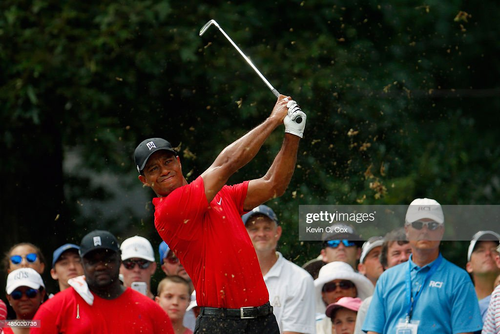 Tiger Woods tees off on the sixth hole during the final round of the Wyndham Championship at Sedgefield Country Club on August 23, 2015 in Greensboro, North Carolina.