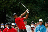 Tiger Woods tees off on the sixth hole during the final round of the Wyndham Championship at Sedgefield Country Club on August 23 2015 in Greensboro...