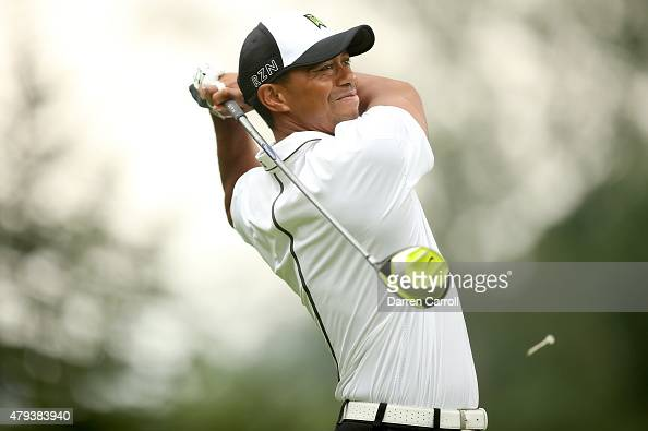 Tiger Woods tees off on the sixth hole during the second round of the Greenbrier Classic at the Old White TPC on July 3 2015 in White Sulphur Springs...
