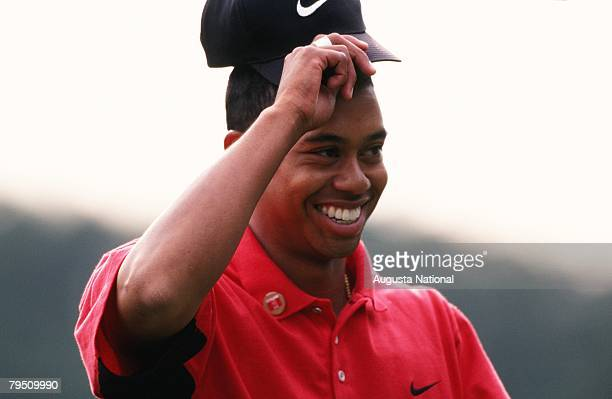 Tiger Woods Tips His Hat During The 1997 Masters Tournament