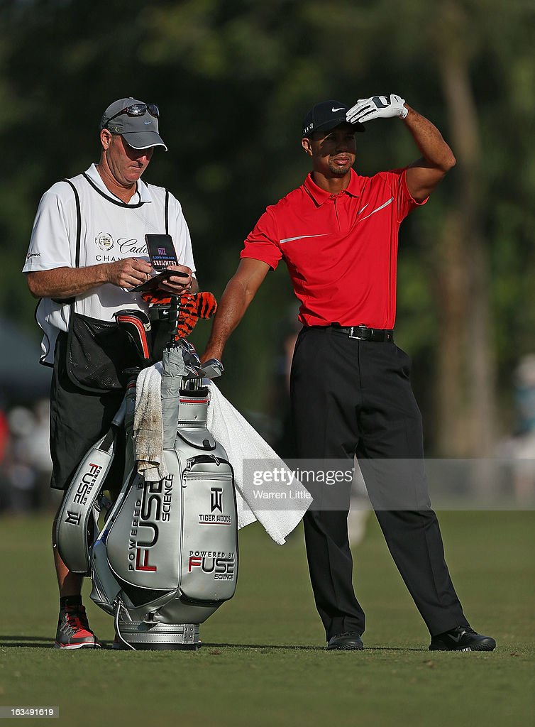 Tiger Woods waits to play a shot during the final round of the World Golf Championships-Cadillac Championship at the Trump Doral Golf Resort & Spa on March 10, 2013 in Doral, Florida.