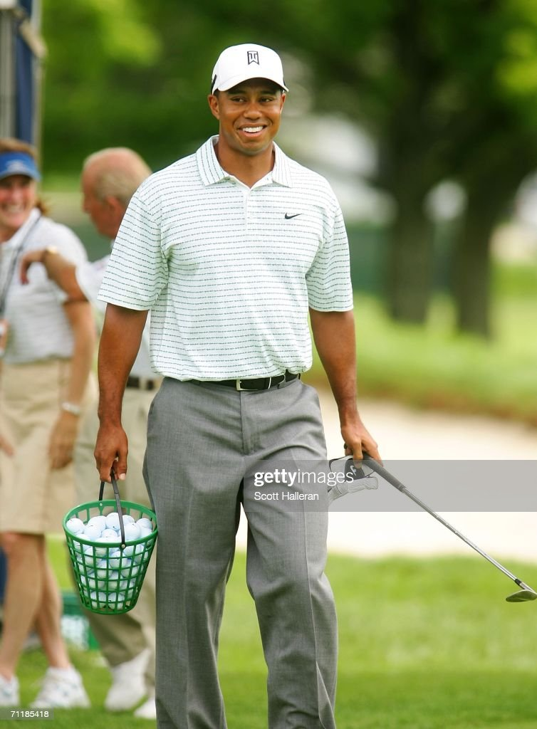 Tiger Woods walks out onto the driving range during the Monday practice round for the 2006 US Open Championship at Winged Foot Golf Club on June 12...